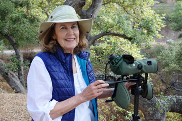 Joan Easton Lentz birding in coastal oak woodland. Photo by Jennifer Lentz.